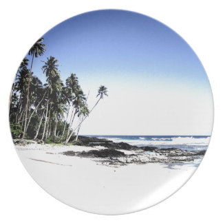 Exotic Palm Trees & Paradise Beach Melamine Plate
