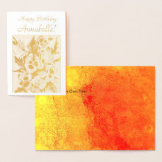 Exotic Pansies  - Happy Birthday - Customize Foil Card