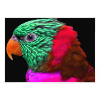 Exotic Parrot Green Red Pink 5x7 Paper Invitation Card