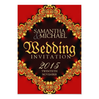 Exotic Passion Red Gold Wedding Invitations