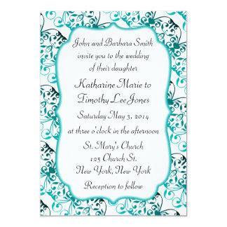 Exotic Pattern Teal Wedding Card