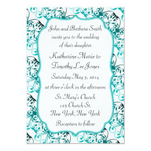 Exotic Pattern Teal Wedding Invitation