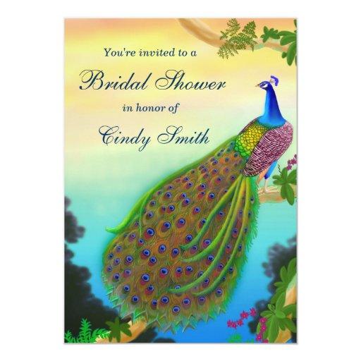 Exotic Peacock Bridal Shower Invitation