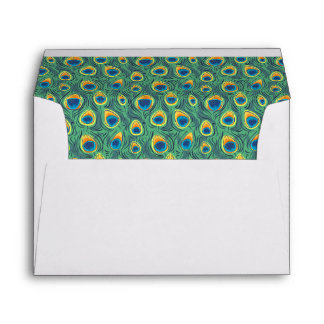Exotic Peacock Feather Pattern Jewel Green Envelope