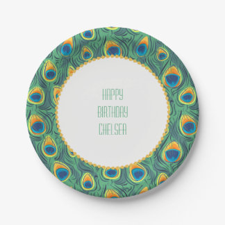 Exotic Peacock Feather Pattern Jewel Green Paper Plate