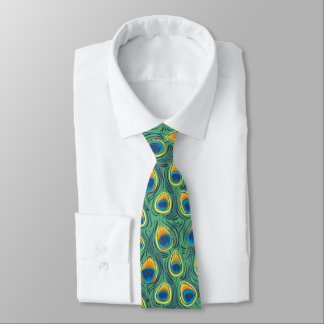 Exotic Peacock Feather Pattern Jewel Green Tie