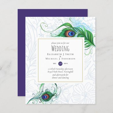 Exotic PEACOCK Feather Wedding Invite BUDGET