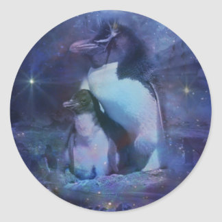 Exotic Penguins in Tuxedos Classic Round Sticker