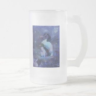 Exotic Penguins in Tuxedos Frosted Glass Beer Mug