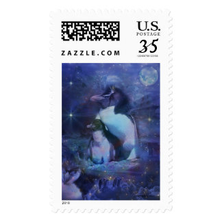 Exotic Penguins in Tuxedos Postage Stamp