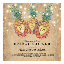 Exotic Pineapple Tropical Bridal Shower Invitations