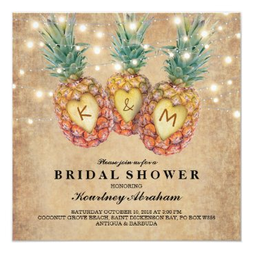 special_stationery Exotic Pineapple Tropical Bridal Shower Card