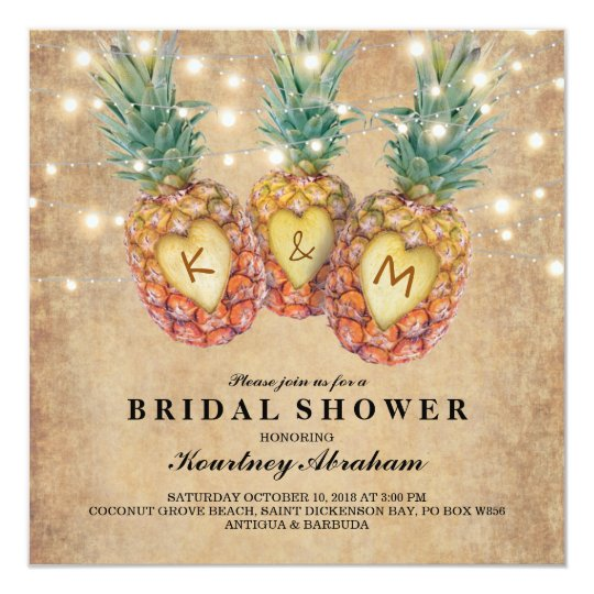 Exotic pineapple tropical bridal shower invitation zazzle exotic pineapple tropical bridal shower invitation filmwisefo