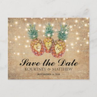 Exotic Pineapple Tropical Save the Date Announcement Postcard