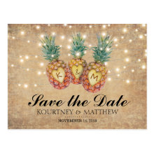 Exotic Pineapple Tropical Save the Date Postcards