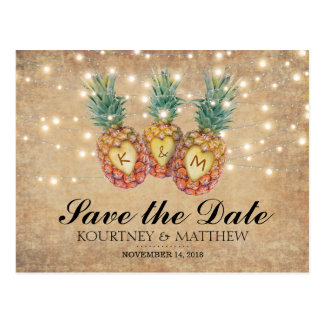 Exotic Pineapple Tropical Save the Date Postcard