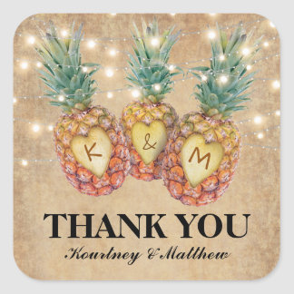 Exotic Pineapple Tropical Wedding Favor Square Sticker