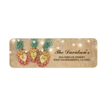 Valentines Themed Exotic Pineapple Tropical Wedding Label
