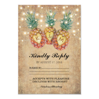 Exotic Pineapple Tropical Wedding RSVP Card