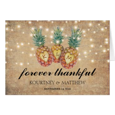 Valentines Themed Exotic Pineapple Tropical Wedding Thank You Card