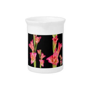 Exotic Pink Flower Bouquet Floral Elegant Gifts Beverage Pitchers
