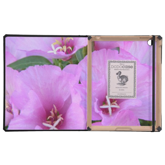 Exotic pink flowers macro photography iPad folio case