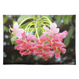 Exotic pink flowers cloth placemat