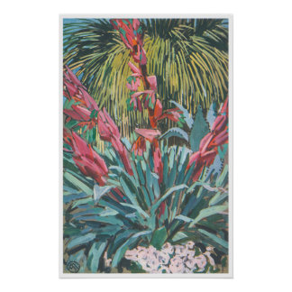 Exotic Pink Flowers Poster