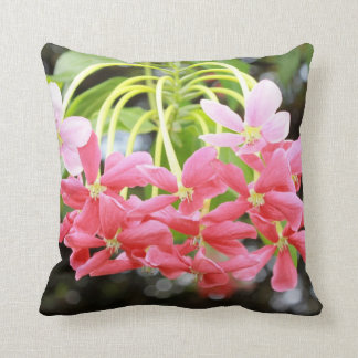Exotic pink flowers throw pillow
