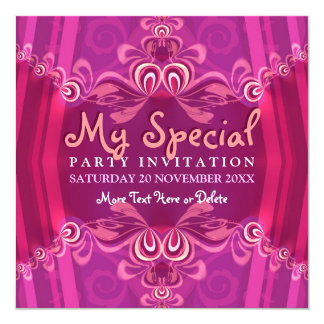 "Exotic Pink Girls Boudoir Party  Invitation 5.25"" Square Invitation Card"