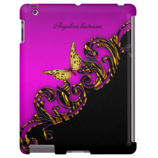 Exotic Pink Gold Black Butterfly