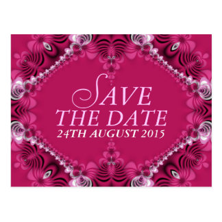 Exotic Pink Lacy Save the Date Postcard