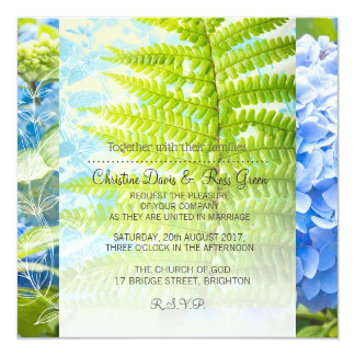 Exotic plants, fern leaves, wedding invitation set