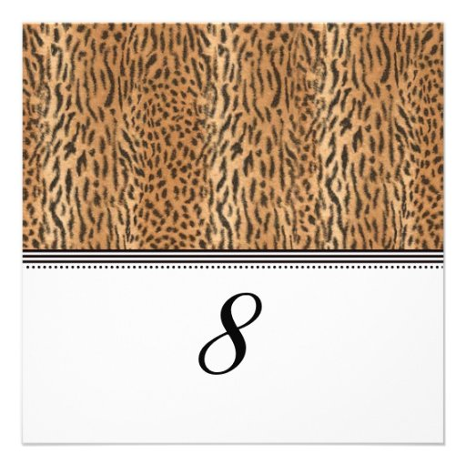 Exotic Print Animal Skin Reception Table Number Personalized Invites