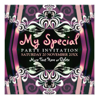 Exotic Purple Girls Boudoir Party  Invitations