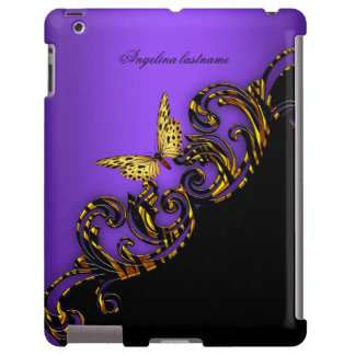 Exotic Purple Gold Black Butterfly