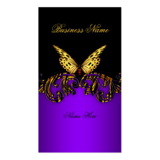 Exotic Purple Gold Black Butterfly Elegant Classy Business Card