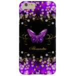 Exotic Purple Gold Black Butterfly Sparkles Barely There iPhone 6 Plus Case