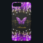"Exotic Purple Gold Black Butterfly Sparkles iPhone 8 Plus/7 Plus Case<br><div class=""desc"">Elegant Classy Purple, Gold Black Butterfly Sparkles Fabulous Phone cover for Women, Girls, Zizzago created this design Add Name Initials Glitter (Be advised that image will appear darker on Case) Fabulous product for Women, Girls, Zizzago created this design PLEASE NOTE all flat images! They Do NOT have real Glitter, Diamonds...</div>"