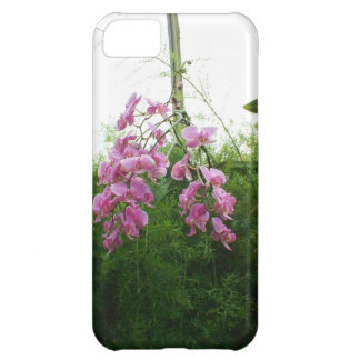 Exotic purple orchids hanging over green foliage cover for iPhone 5C