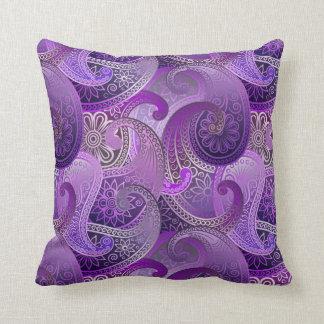 Exotic Purple Paisley Boho Damask Pattern Pillow
