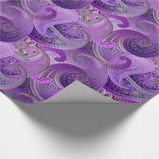 Exotic Purple Paisley Boho Damask Pattern Wrapping Paper