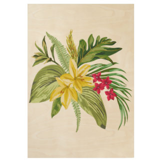 Exotic Red And Yelloow Flowers And Green Leaves Wood Poster