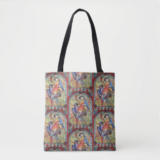 Exotic Red Blue Parrot Macaw Tiled Shopping Tote