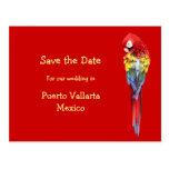 Exotic Red Destination Wedding Announcements Postcard