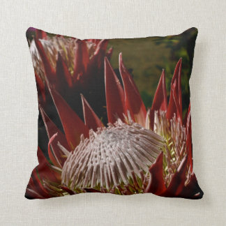 Exotic red flowers - decorative throw pillow
