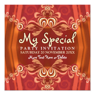 Exotic Red+Gold Girls Boudoir Party  Invitations