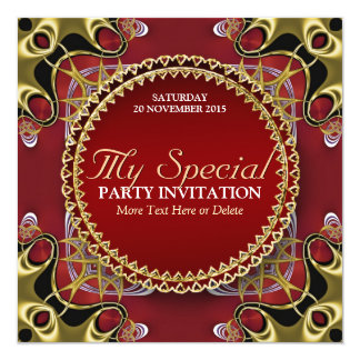 Exotic Red Gold Lace Special Party Invitation