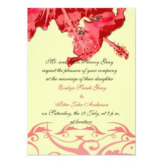 Exotic Red hibiscus brocade wedding invitation