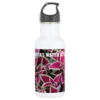 Exotic red leaves with yellow edge plants. stainless steel water bottle